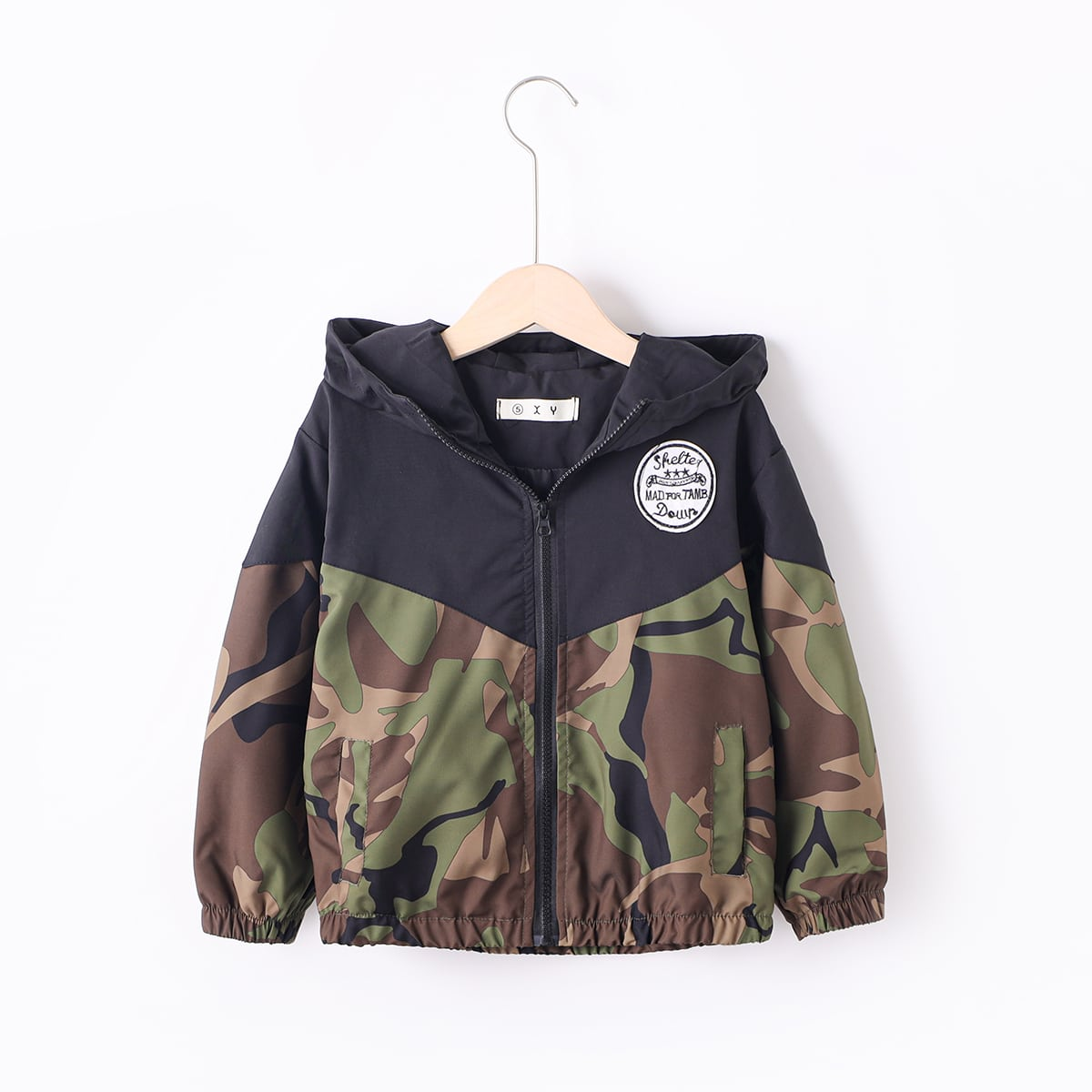 Boys Camo Print Patched Detail Hooded Jacket