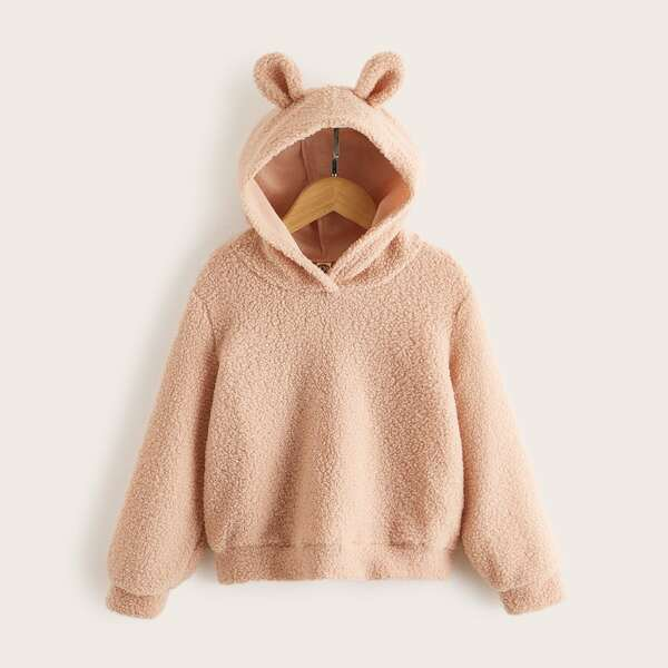 Girls 3D Ear Patched Teddy Hoodie, Apricot