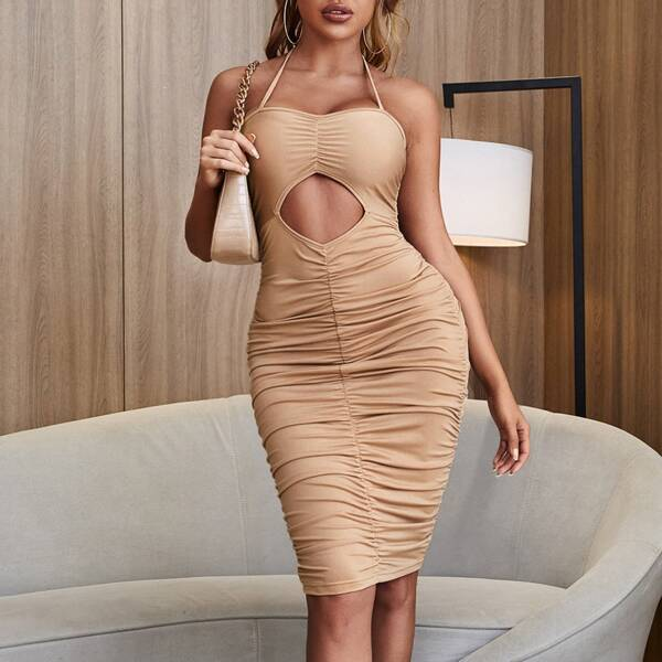 Peekaboo Front Ruched Halter Bodycon Dress, Apricot