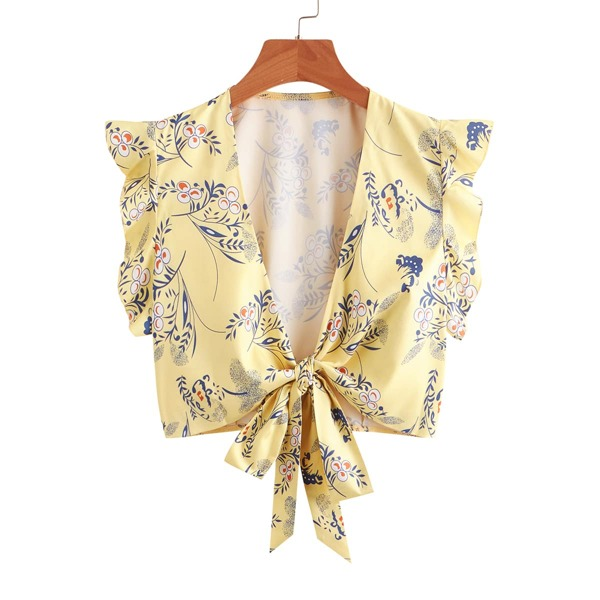 Ruffle Trim Floral Top, Yellow