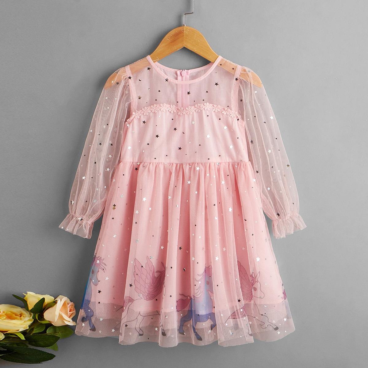 Toddler Girls Unicorn Pattern Flounce Sleeve Sequin Mesh Dress