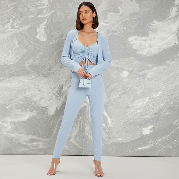 Drawstring Knot Ruched Cami Top & Leggings Set With Coat, Baby blue