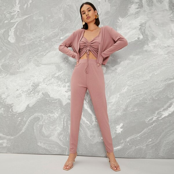 Drawstring Knot Ruched Cami Top & Leggings Set With Coat, Dusty pink