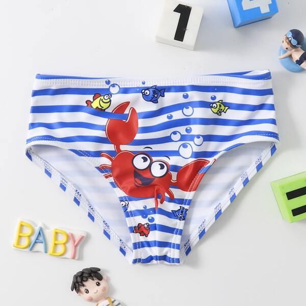 Toddler Boys Crab Print Striped Swim Shorts, Multicolor