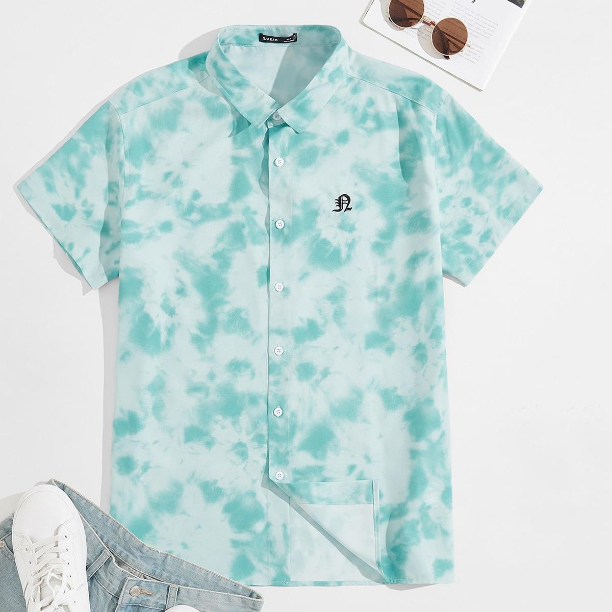 Мужской Рубашка с принтом тай-дай с текстовой вышивкой