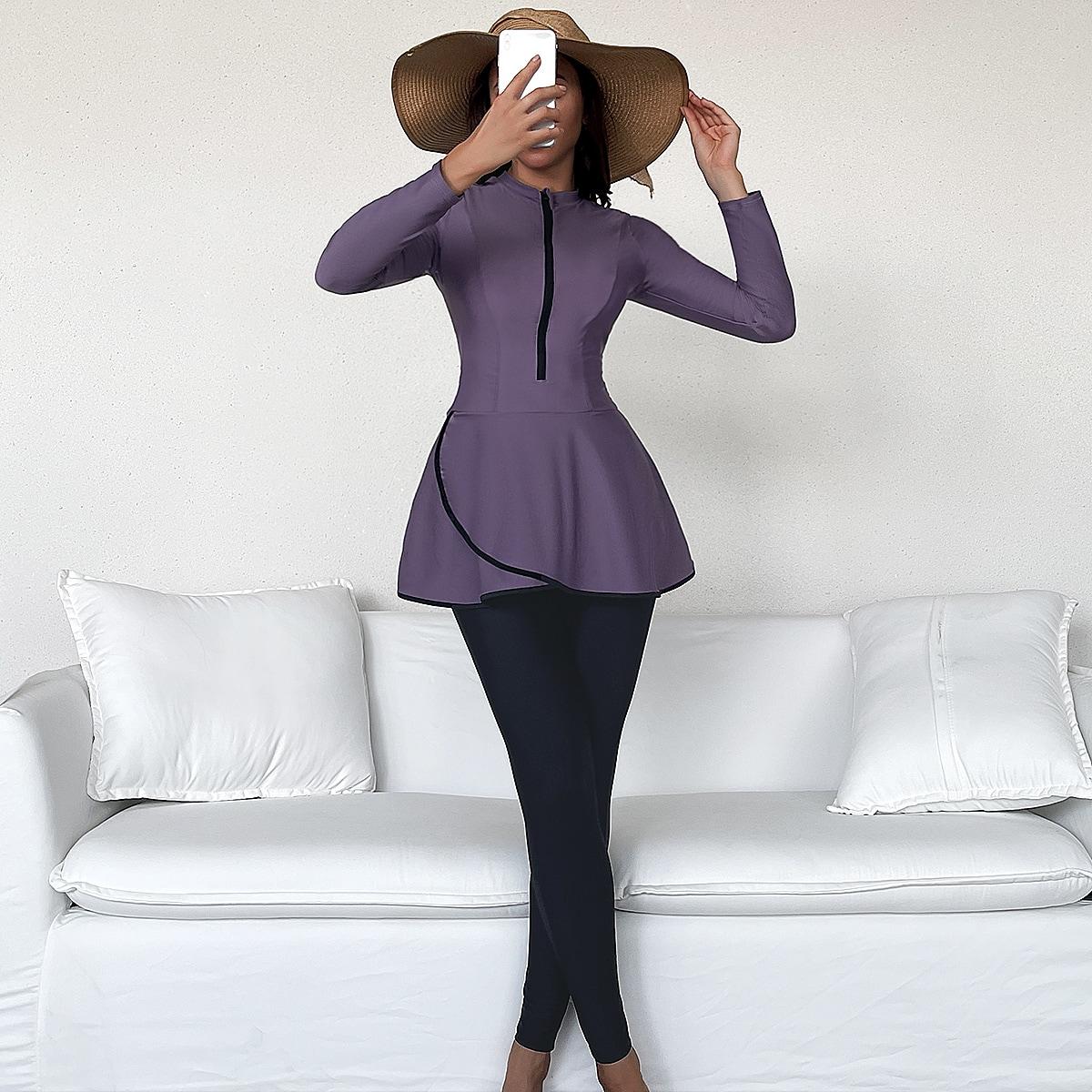 Color Block Zip Front Full Cover Burkini Swimsuit