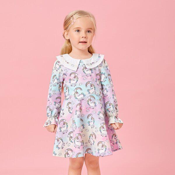 Toddler Girls Peter Pan Collar Unicorn & Rainbow Print Flounce Sleeve Dress, Multicolor