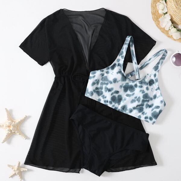 3pack Girls Tie Dye Bikini Swimsuit & Kimono, Multicolor