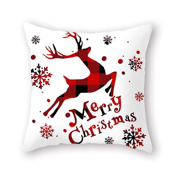 Christmas Deer Print Cushion Cover Without Filler, Red and white