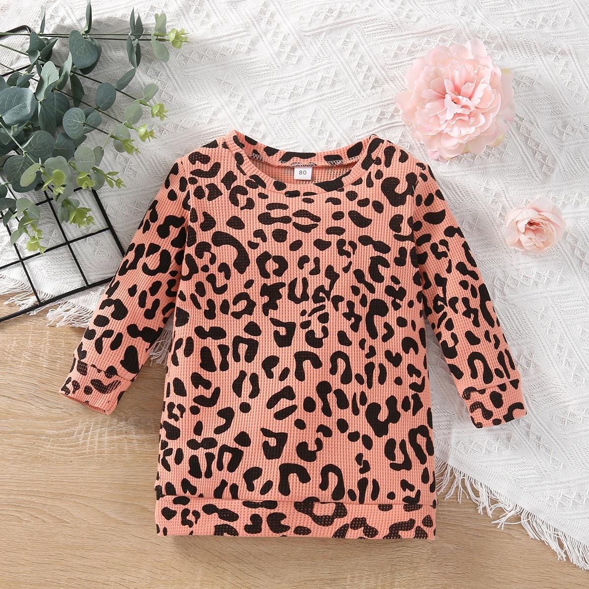 детский Платье-футболка с принтом в рубчик от SHEIN