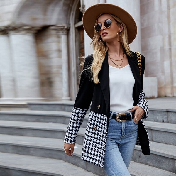 Houndstooth Pattern Double Breasted Lapel Collar Blazer, Black and white