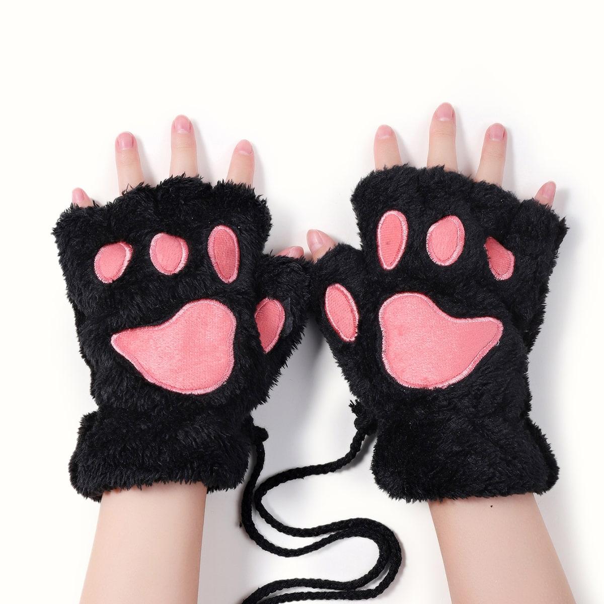 Перчатки без пальцев плюшевый