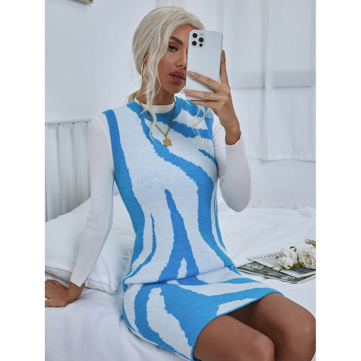 Graphic Pattern Form Fitted Sweater Dress, SHEIN  - buy with discount