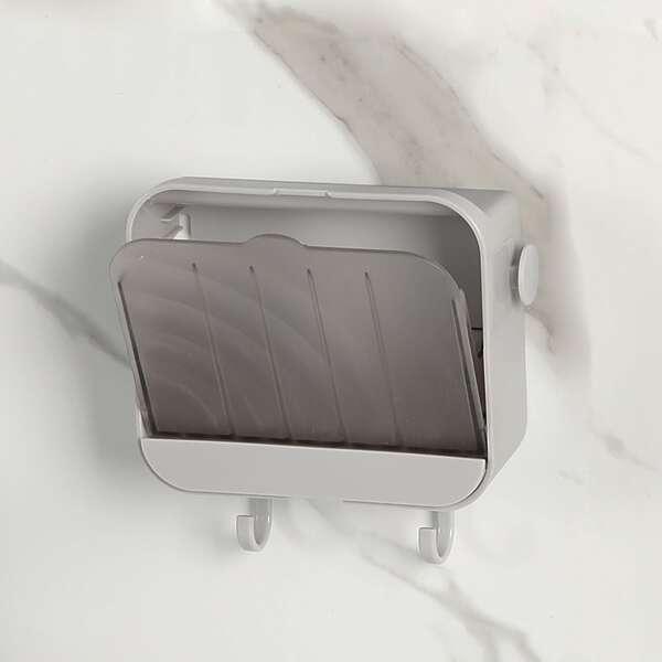 1pc Wall Mounted Soap Dish Holder, Grey