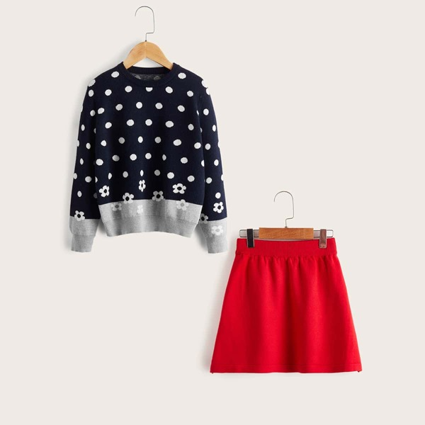 Girls Floral And Polka Dot Pattern Sweater & Knit Skirt, Multicolor