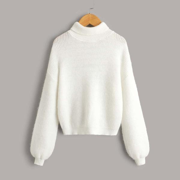 Girls Turtleneck Lantern Sleeve Sweater, White
