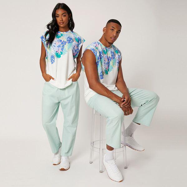 1pc Tropical Print Sleeveless Sweatshirt, Multicolor
