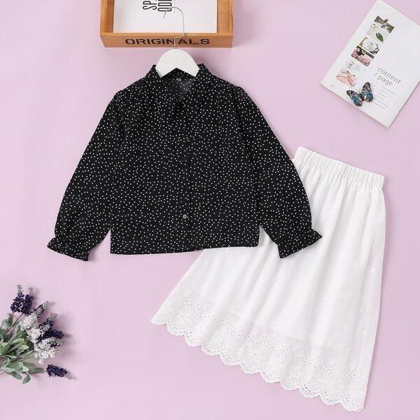 Girls Polka Dot Print Flounce Sleeve Blouse & Eyelet Embroidery Skirt, Black and white