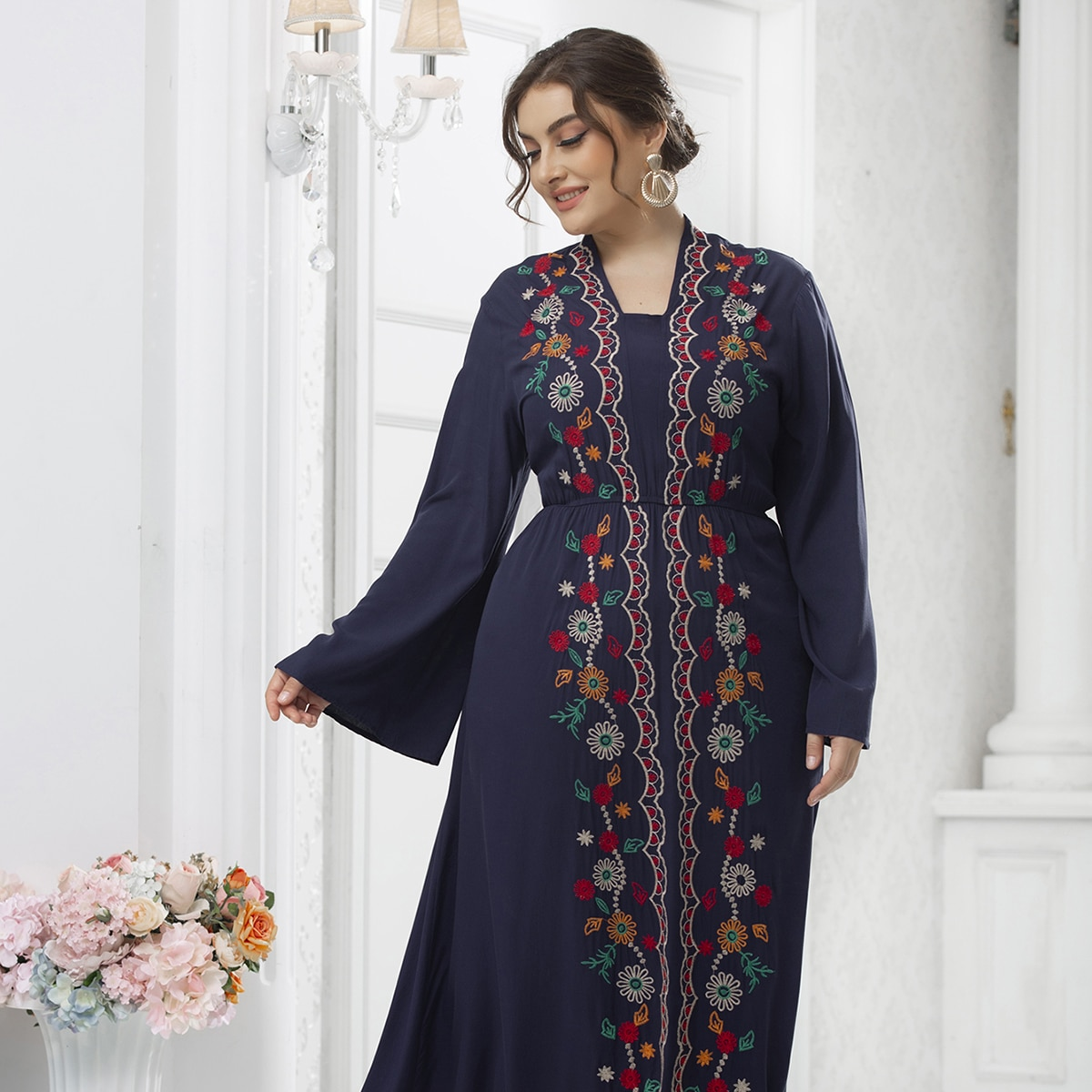 Plus Flower Embroidery Trumpet Sleeve Dress, SHEIN  - buy with discount
