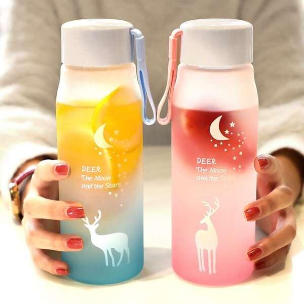 1pc Elk Print Random Water Bottle, Multicolor