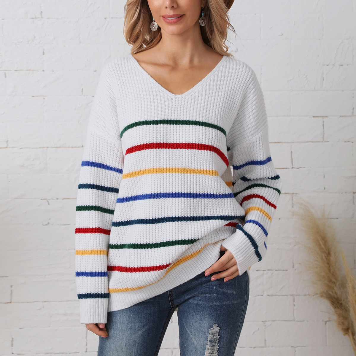 Striped Pattern V Neck Drop Shoulder Sweater, SHEIN  - buy with discount