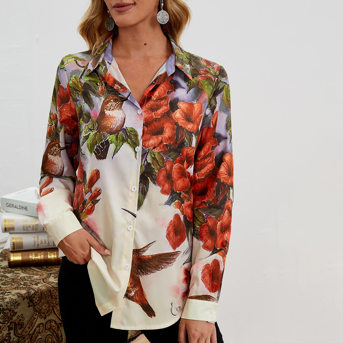 Floral And Bird Print Blouse, SHEIN  - buy with discount