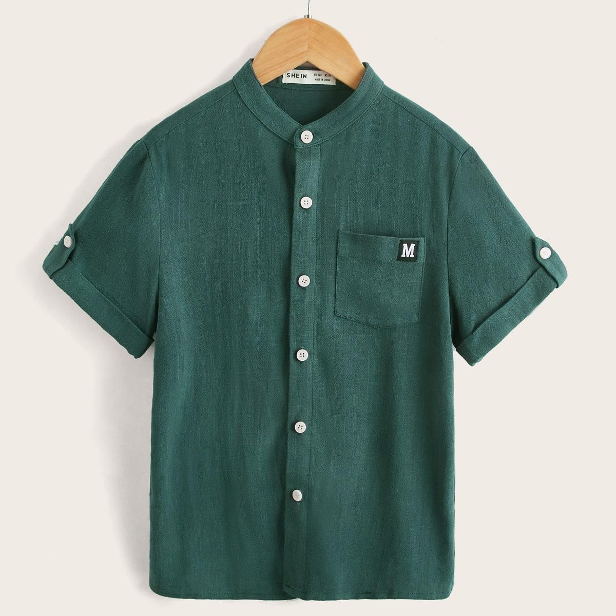 Рубашка с рулонными рукавами и карманом для мальчиков