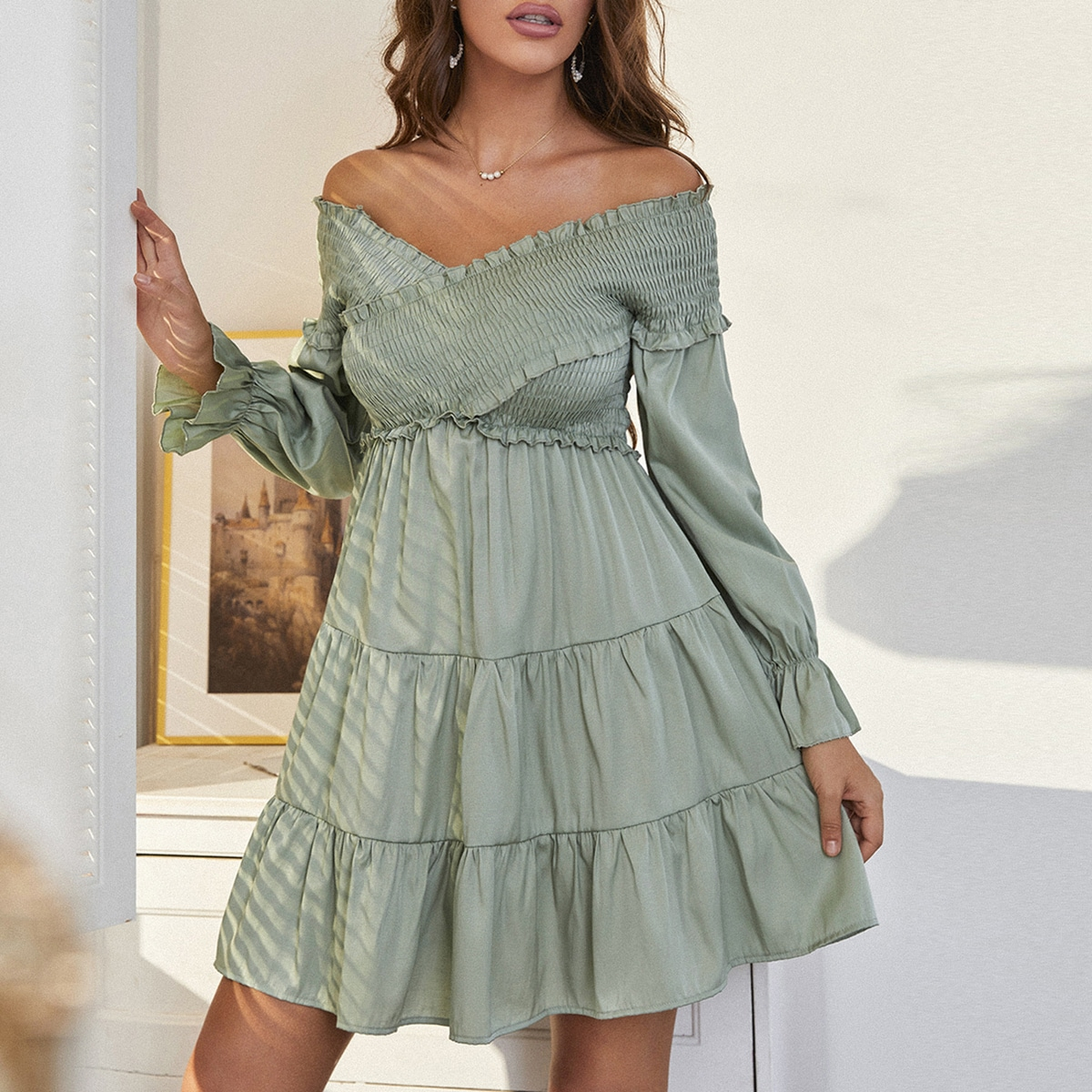 Оборка с оборками С оборками Одноцветный Бохо Платье SheIn swdress25210610047