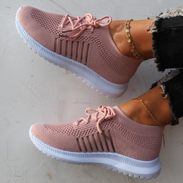 Minimalist Fabric Breathable Lace-up Front Sneakers, Dusty pink