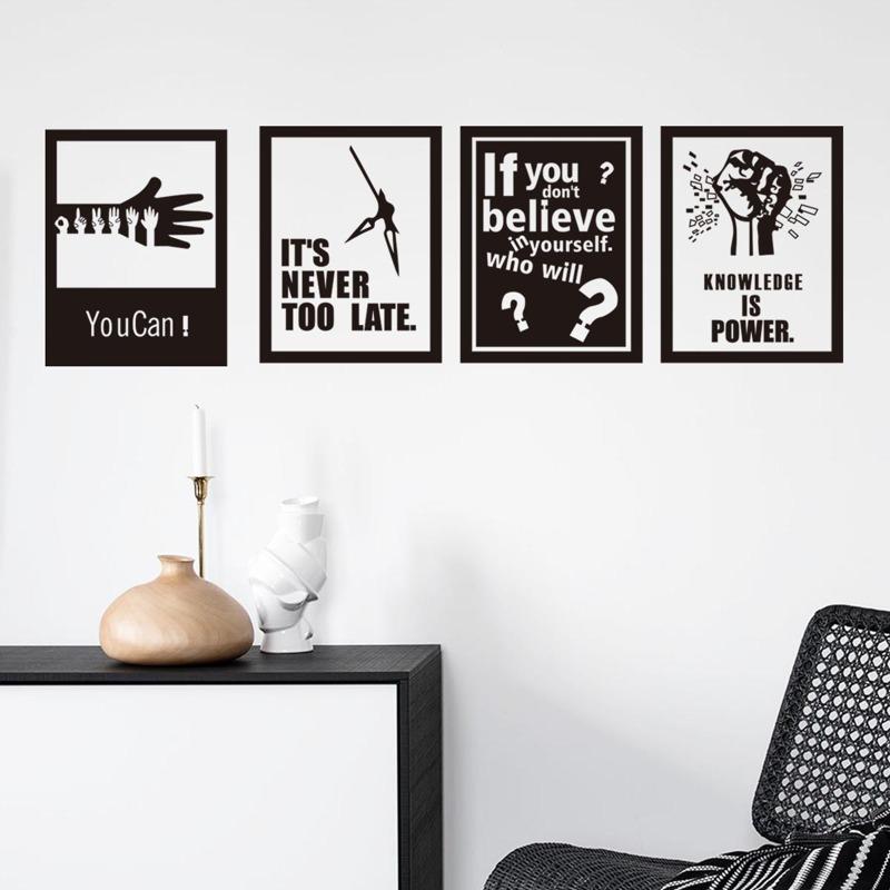 1set Slogan Graphic Wall Sticker, Black and white