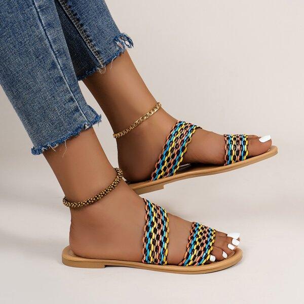 Colorblock Slide Sandals, Multicolor