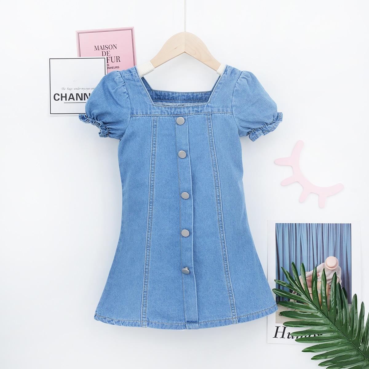для девочек Джинсовое платье с пышным рукавом на пуговицах SheIn skdress25210603683