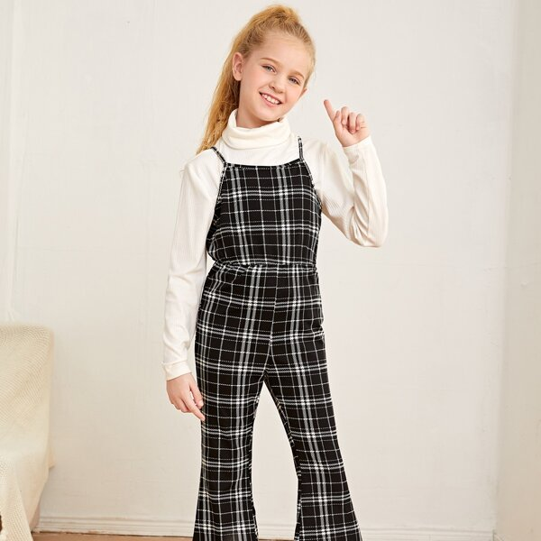 Girls Plaid Print Flare Leg Cami Jumpsuit Without Tee, Black and white