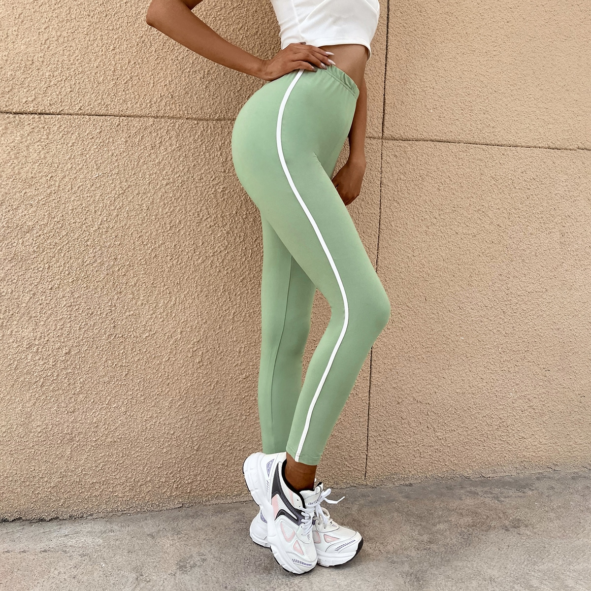 Tape Side Skinny Leggings, SHEIN  - buy with discount