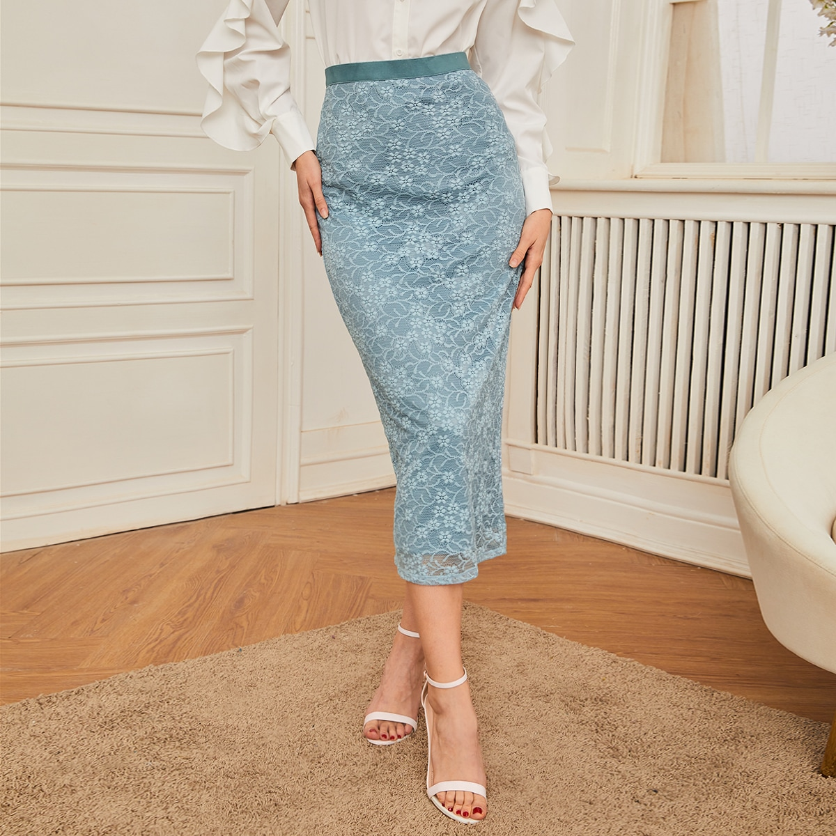 High Waist Zip Back Split Hem Floral Lace Pencil Skirt, SHEIN  - buy with discount