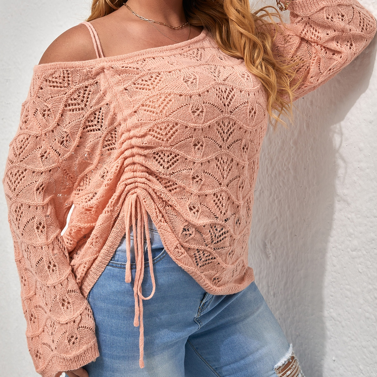 Plus Drawstring Side Asymmetrical Neck Pointelle Knit Sweater, SHEIN  - buy with discount