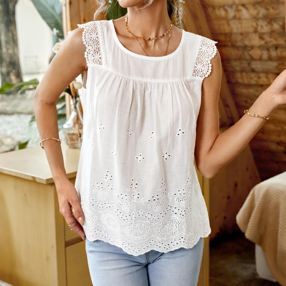 Блуза с кружевной отделкой ажурной вышивкой SheIn swblouse23210616430