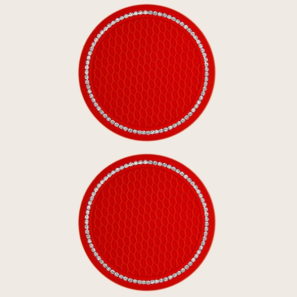 2pcs Rhinestone Decor Car Coaster, Red