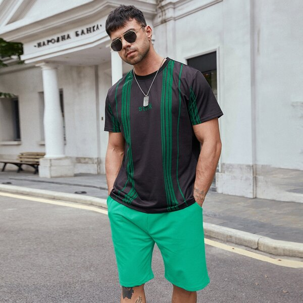 Men Vertical Stripe Tee With Shorts, Multicolor