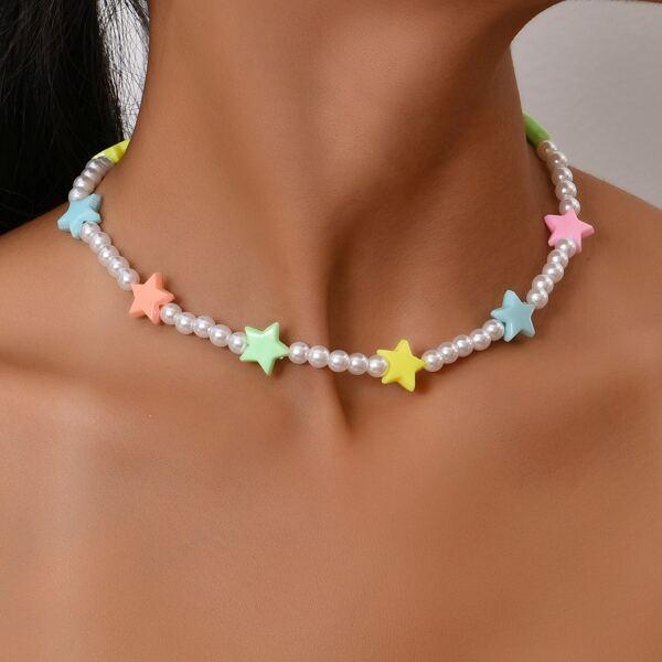 Random Color Star Decor Faux Pearl Beaded Necklace, Multicolor