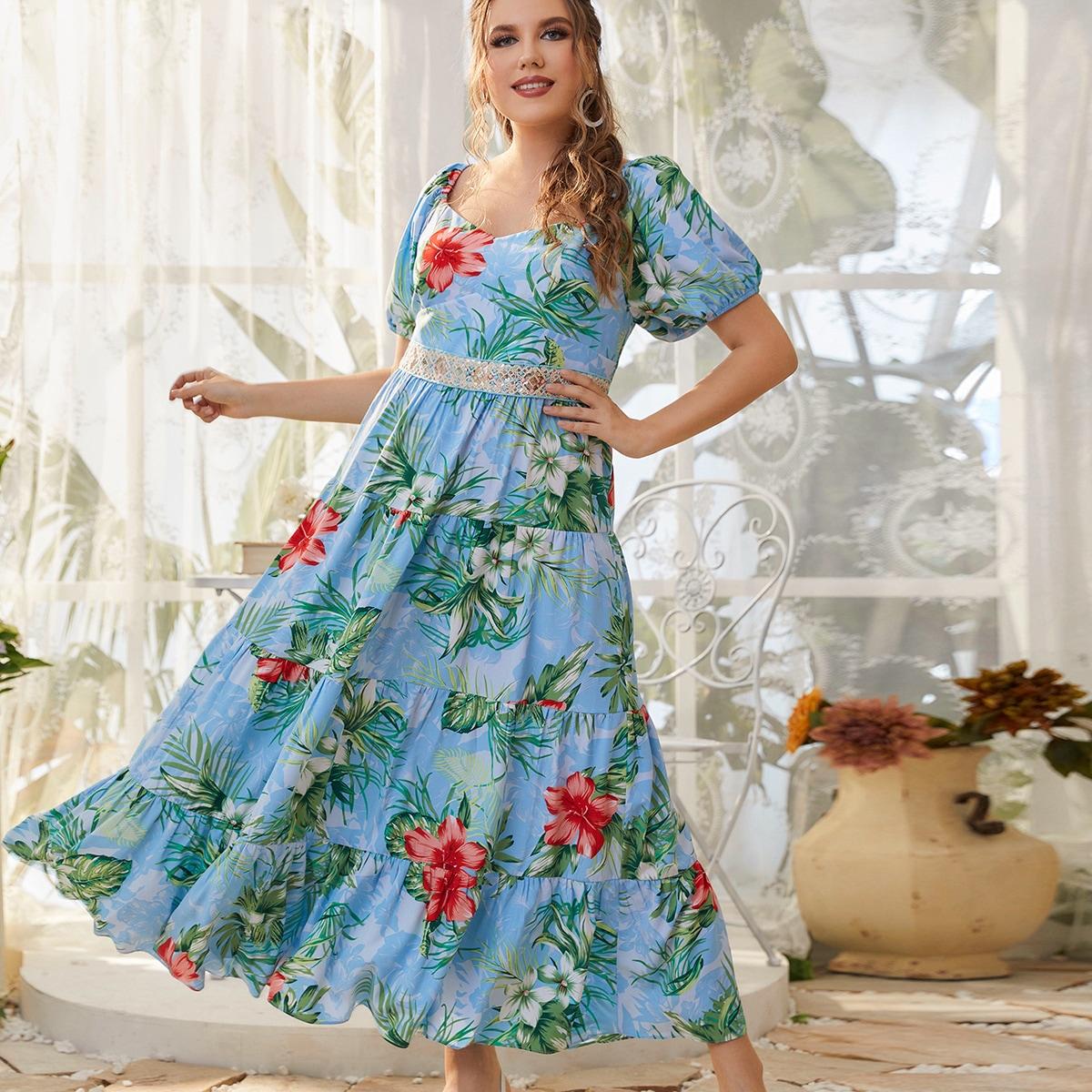 Plus Floral Print Contrast Sequin Waist Ruffle Hem Dress