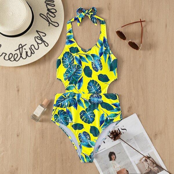 Tropical Print Halter One Piece Swimsuit, Multicolor