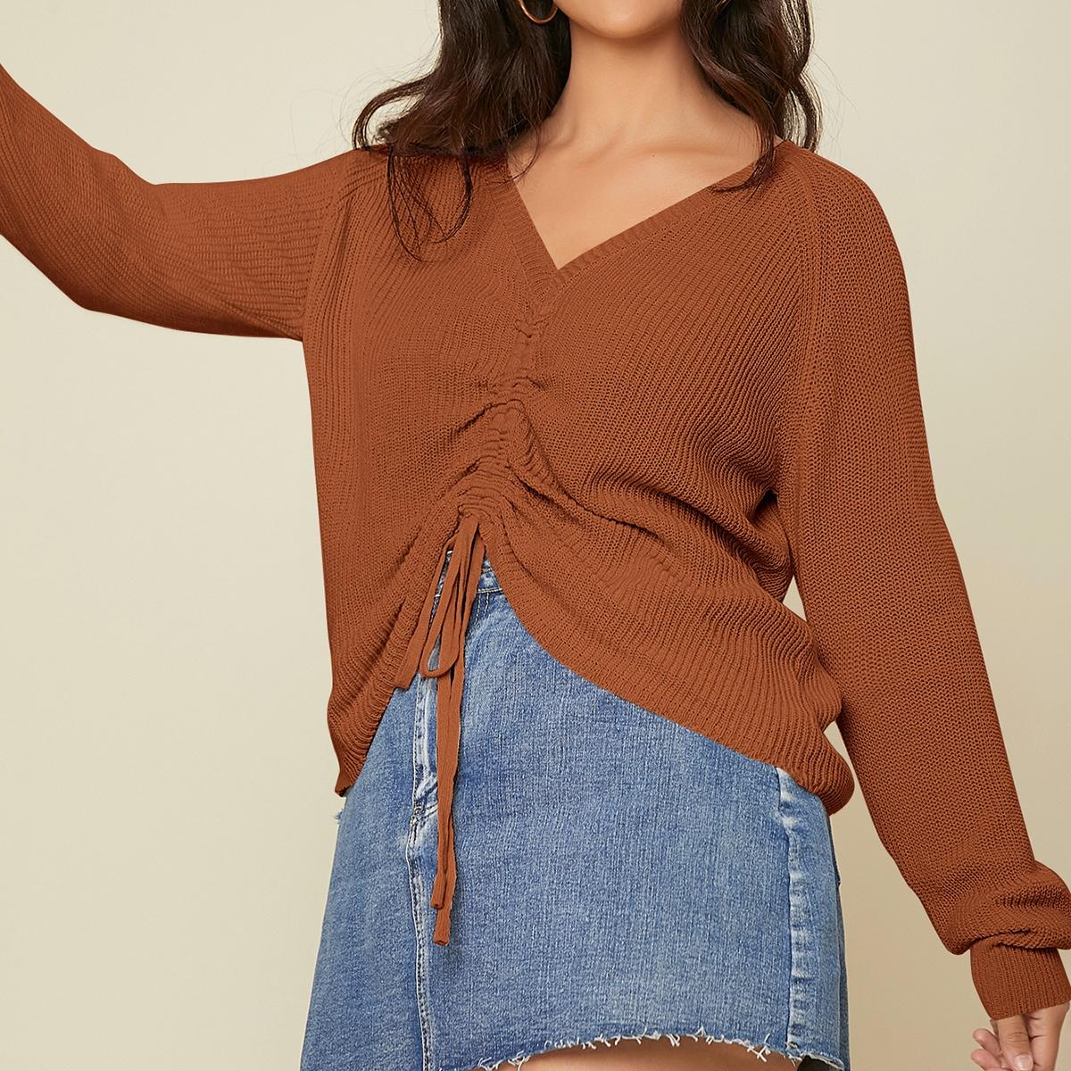Трикотажный свитер на кулиске с рукавами реглан размера плюс