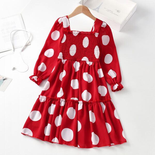 Girls Polka Dot Shirred Frill Trim Flounce Sleeve Ruffle Hem Dress, Red and white
