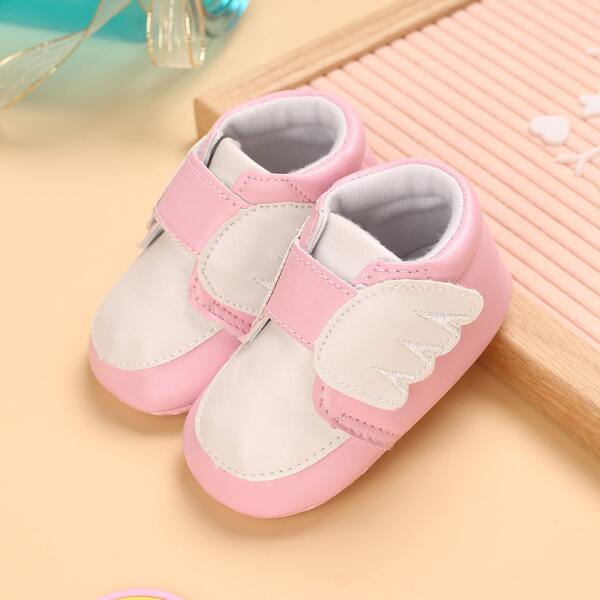 Baby Two Tone Wings Decor Flats, Pink