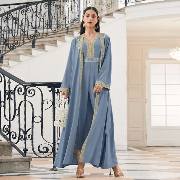 Contrast Applique Belted Abaya, Dusty blue