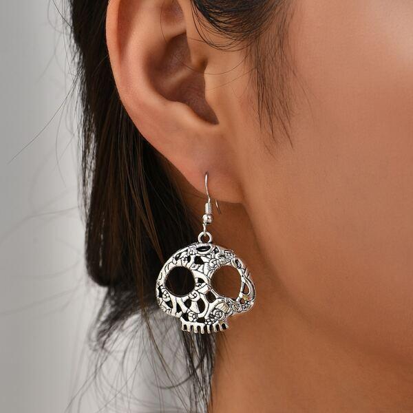 Skull Drop Earrings, Antique silver