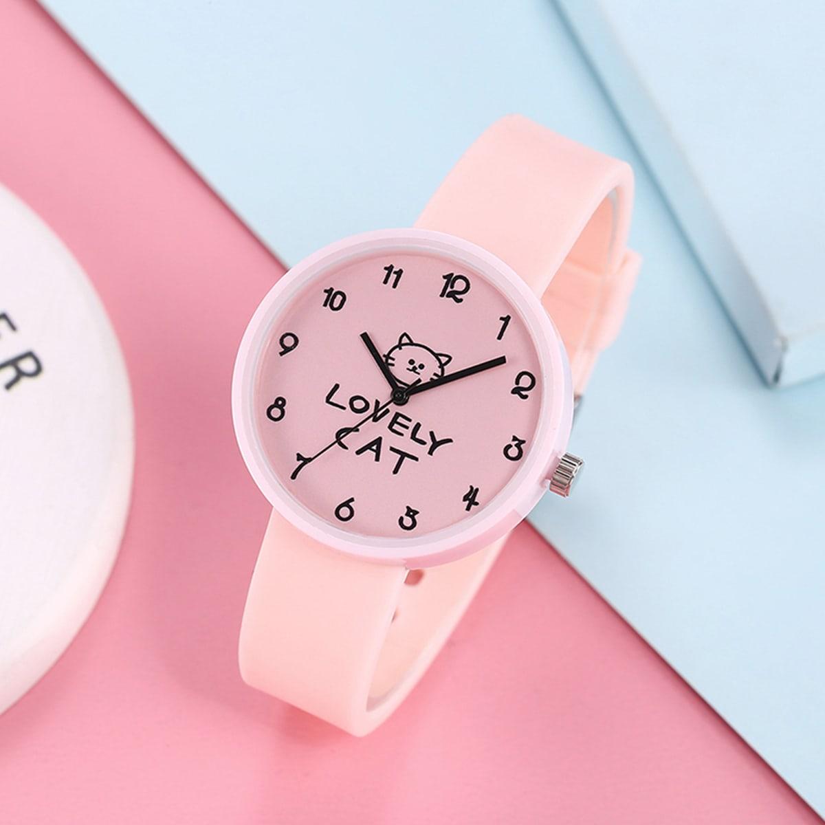 Детские кварцевые часы с резиновым ремешком