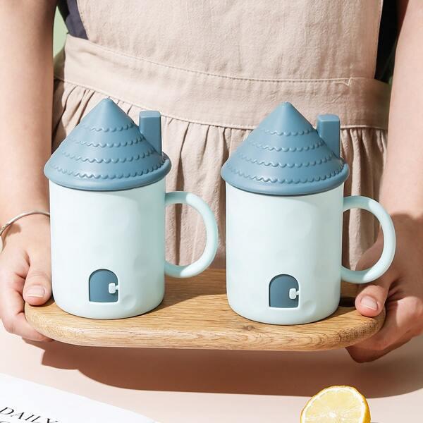 1pc House Shaped Mug With Lid, Baby blue