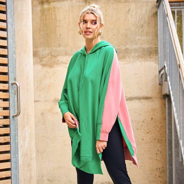 Plus Two Tone Raglan Sleeve Slit Hem Kangaroo Pocket Drawstring Hoodie, Multicolor